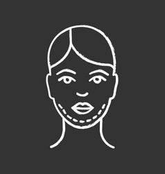 Double chin surgery chalk icon vector