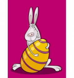 easter bunny with huge egg vector image