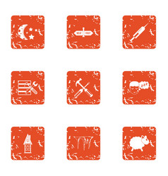 Evenfall icons set grunge style vector