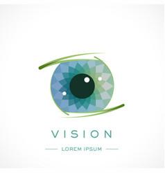 Eye design logo template and text vector