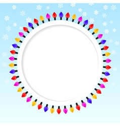 Festive blue background frame of colored lights vector