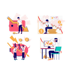 Financial crisis set flat isolated vector