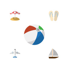 Flat icon season set of beach sandals aircraft vector