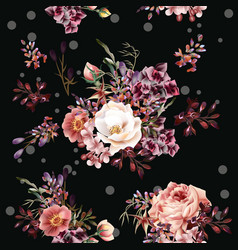 floral pattern with roses and field flowers vector image