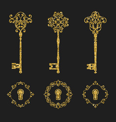 Golden glitter vintage keys and keyholes set vector