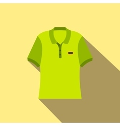 Green men polo shirt flat icon vector image