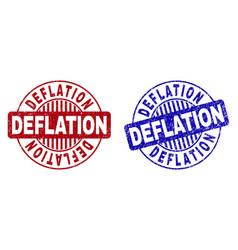 Grunge deflation textured round stamp seals vector