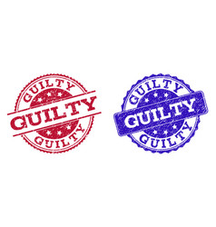 Grunge scratched guilty stamp seals vector