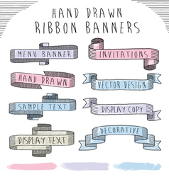 Hand drawn banner and ribbon design set vector