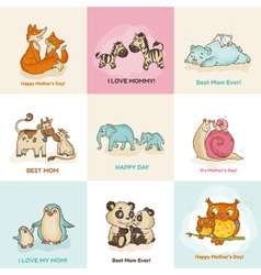 Happy Mothers Day Cards - with cute animals vector