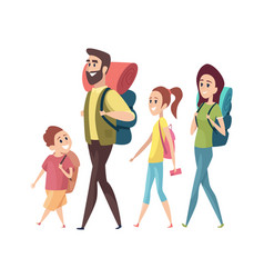 hiking mom dad daughter son with backpacks vector image