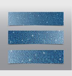 Horizontal set Blue sequins banners Glitter vector image