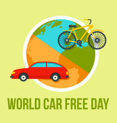 International car free day background flat style vector