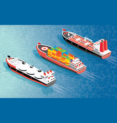 Isometric cargo ship container lng carrier ship vector