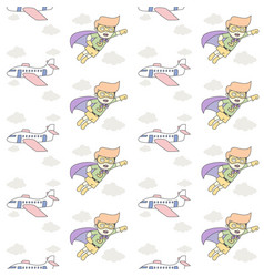 kid and plane fly seamless pattern superhero boy vector image