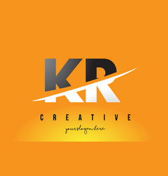 Kr k r letter modern logo design with yellow vector