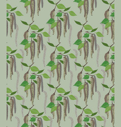 leaves seamless pattern spring floral birch leaf vector image