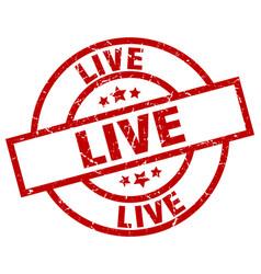 Live round red grunge stamp vector