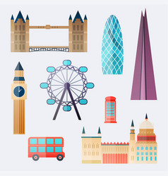 London travel buildings and famous landmarks big vector