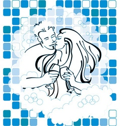 Man and woman in love holding wine in bathtub vector image