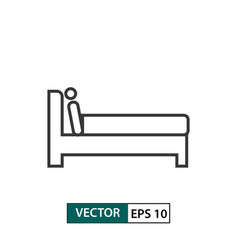 man in bed icon outline style eps 10 vector image