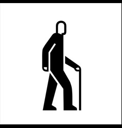 man with a cane on a walk icons senior adult vector image