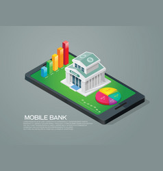 mobile bank isometric and chart graph vector image