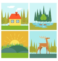 Nature Landscapes Outdoor Life Symbol Lake Forest vector image vector image