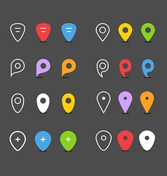 Navigation pins flat design collection vector
