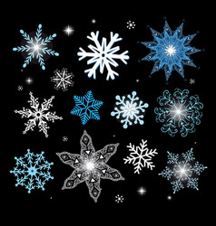 New year set different snowflakes vector