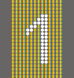 number one with white circles on rainbow circles vector image