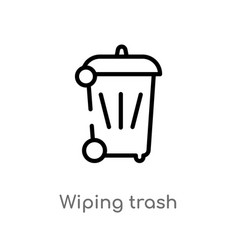 outline wiping trash icon isolated black simple vector image