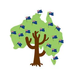 patriotic tree australia map australian flag vector image