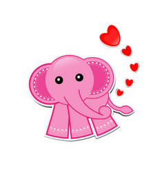 Pink elephant cartoon with hearts on white vector