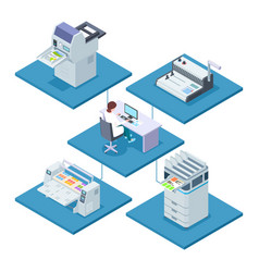 Printing house with woman opertator isometric vector