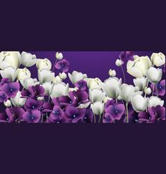 Purple flowers banner duotone retro floral vector