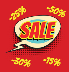 Red sale comic word vector