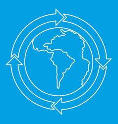 Round arrows around world planet icon vector
