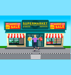 sale in supermarket woman with shopping bags vector image