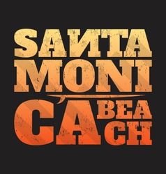 Santa monica beach tee print with surfboard vector
