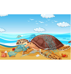 Scene with sea turtle and plastic bags on beach vector