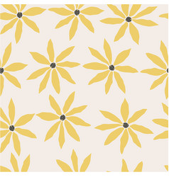 seamless pattern with colorful yellow flowers vector image
