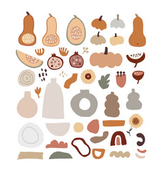 set modern abstract hand-drawn autumn elements vector image