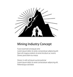 silhouette miner and mountain and text vector image