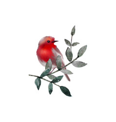 small cute bird on branch with leaves vector image