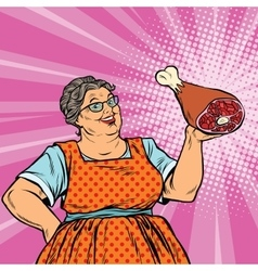 Smiling retro old woman and meat leg vector