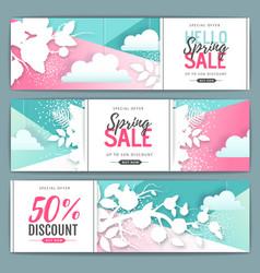 spring big sale poster paper art style design vector image