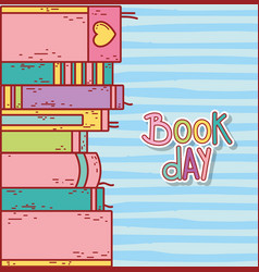 stacked books education literature striped vector image