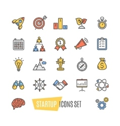 Start Up Motivation Brainstorming Color Icon Set vector image