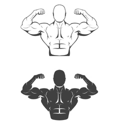 Strong bodybuilder man with perfect abs shoulders vector